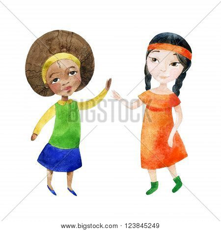 Watercolor children. Two girls holding hands. Happy Friendship day background. Hand painted illustration that shows tolerant relations