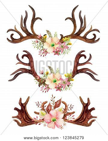 Watercolor antler with flowers, leaves and herbs. Hand painted deer horns set