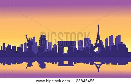 Silhouette of tourist collage at the sunrise