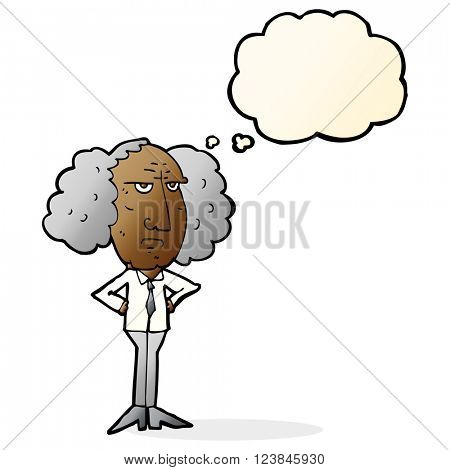 cartoon big hair lecturer man with thought bubble