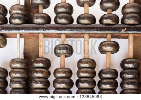 Old abacus; evolution of calculation background (close up)