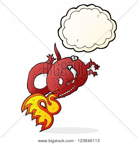 cartoon dragon breathing fire with thought bubble