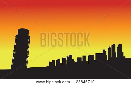 Silhouette tower of pisa at sunset with red and yellow background