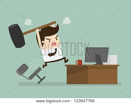Furious frustated businessman hitting the computer, vector illustration
