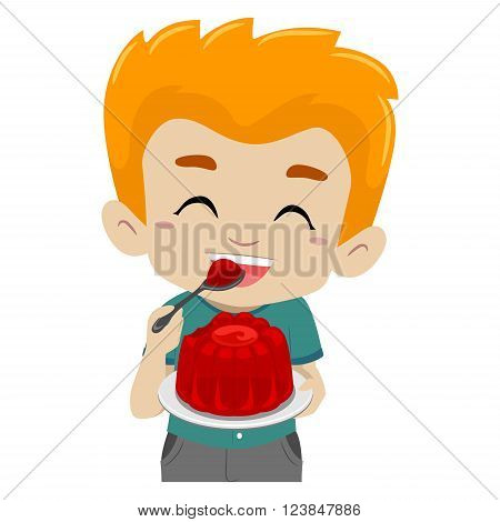 Vector Illustration of a Kid eating Jelly