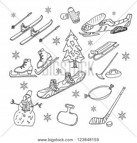 Winter games on white background. Doodle set. Isolated. Vector