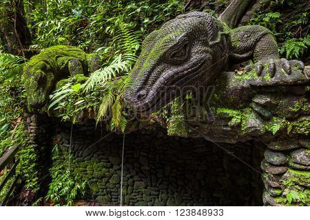 Giant Lizard in Sacred Monkey Forest Sanctuary Ubud Bali Indonesia