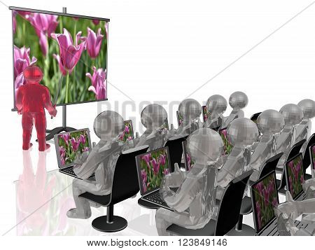 Man with presentation stand about nature white background (3D illustration, ).