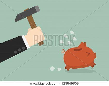 businessman try to brake piggybank. Business Concept Cartoon Illustration.