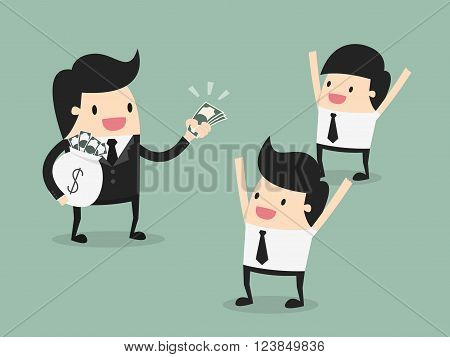 employer paying money for employee, motivation concept