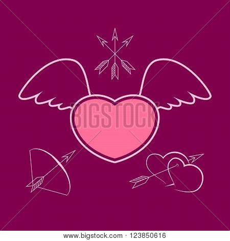 Heart with Wings, Winged Heart, Happy Valentines Day, Vector Illustration