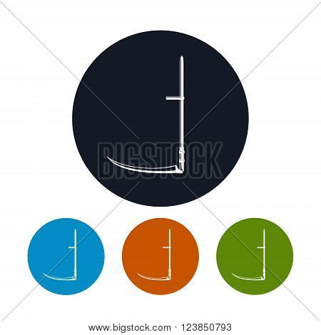 Scythe Icon,  Agricultural Hand Tool for Mowing Grass or Reaping Crops, Four Types of Colorful Round Icons Scythe , Garden Equipment icon,  Vector Illustration