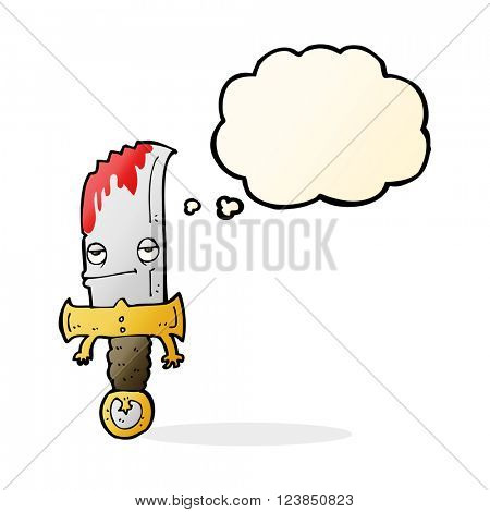 bloody knife cartoon character with thought bubble