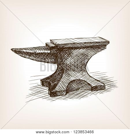 Anvil sketch style vector illustration. Old hand drawn engraving imitation. Vintage object illustration
