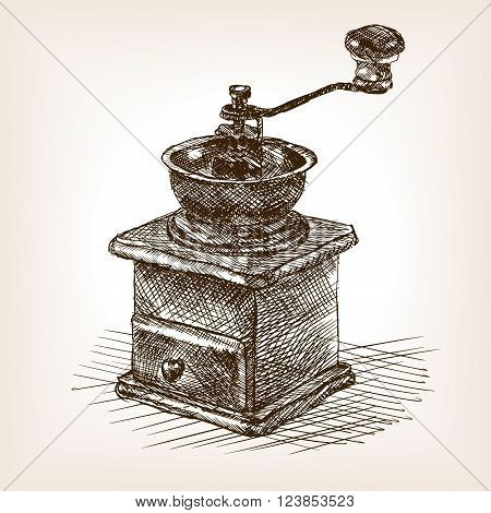 Coffee mill sketch style vector illustration. Old hand drawn engraving imitation. Vintage object illustration