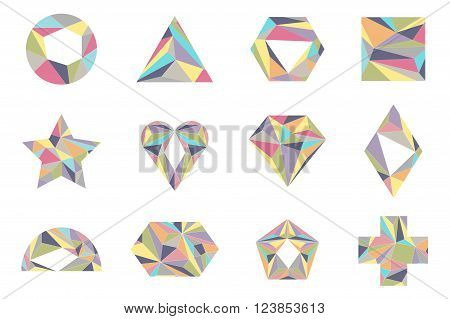 Geometrical shapes in pastel colors. Vector. Isolated.