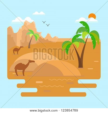 Desert landscape with dunes palm trees and camels with mountains in the background.Vector illustration in flat style.