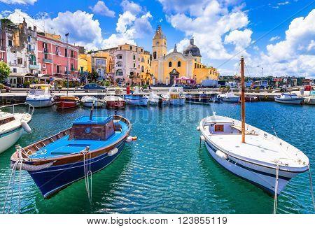 colorful Procida island in Campania, Italy