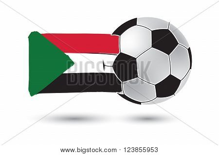 Soccer Ball And Sudan Flag With Colored Hand Drawn Lines