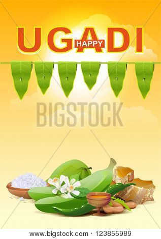 Happy Ugadi. Template greeting card for holiday Ugadi. Illustration in vector format