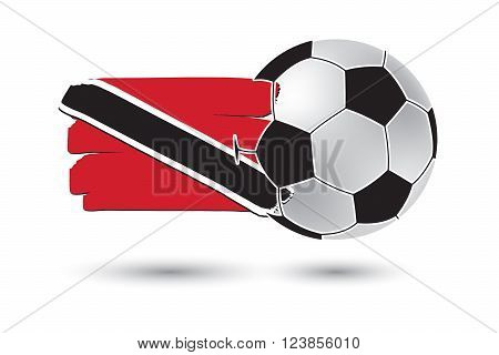 Soccer Ball And Trinidad And Tobago Flag With Colored Hand Drawn Lines