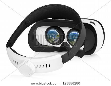 Half turned back view of VR virtual reality headset with switched-on displays. VR is an immersive experience in which your head movements are tracked in 3d world VR is the future of gaming.