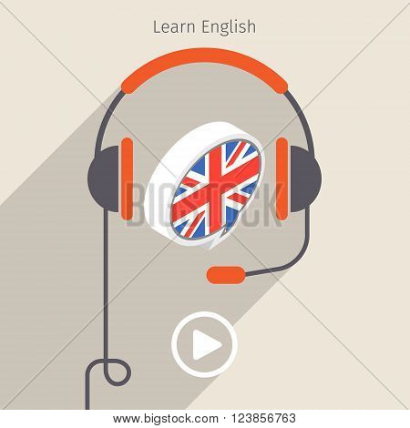 Concept of audio book or studying languages. Book with headphones, vector illustration, flat design