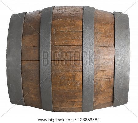 wood barrel cask isolated on white background with clipping path