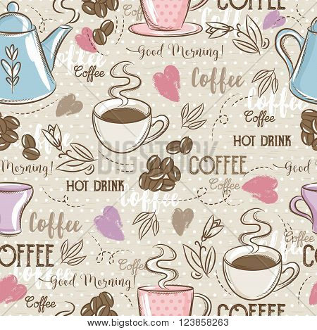 Beige seamless patterns with coffee set heart flower and text. Ideal for printing onto fabric and paper or scrap booking.