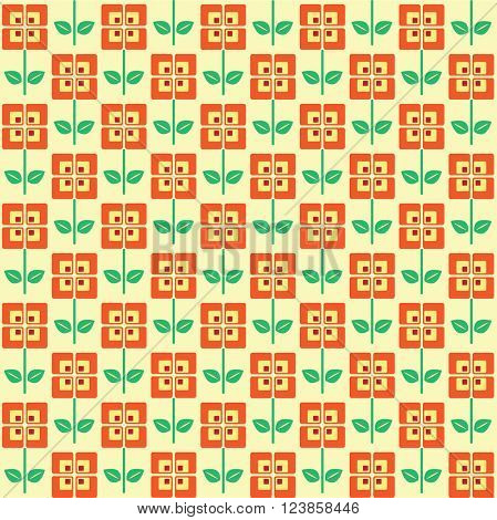 A seamless pattern of retro style flowers, in 1960 color scheme. EPS10 vector format.