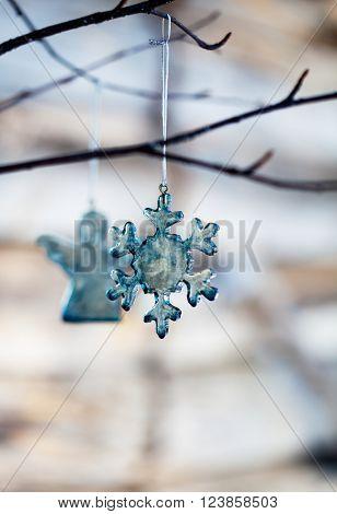Handmade christmas decoration made from blue glass