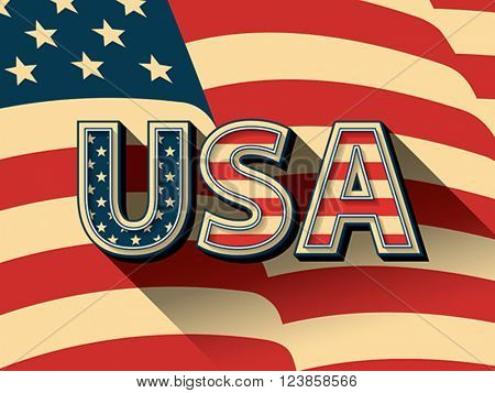 USA - stylized letters on American flag background.