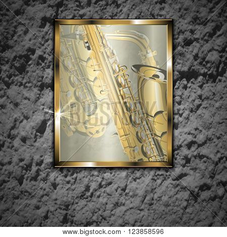 Vector illustration of a stone wall with a glass picture golden saxophone close-up in a gold frame. The image is well compatible with any text anywhere.