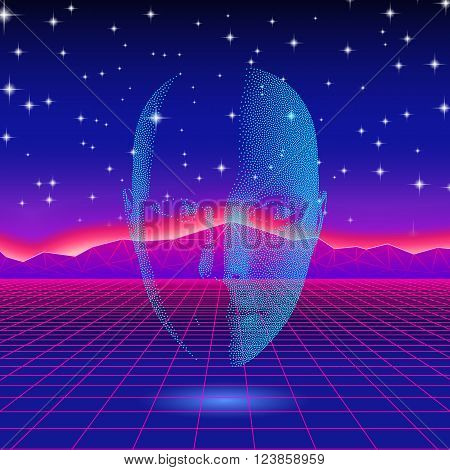 Retro wave shiny head silhouette over neon landscape