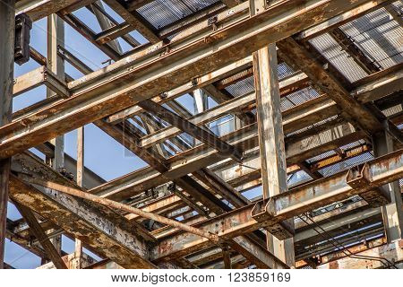 Close up of a steel construction of an old factory