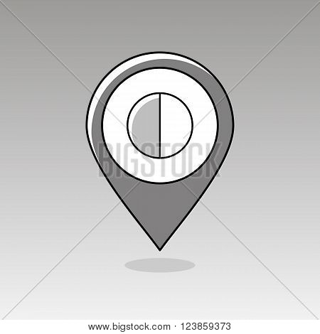 Half Moon outline pin map icon. Map pointer. Map markers. Sleep night dreams symbol. Meteorology. Weather. Vector illustration eps 10