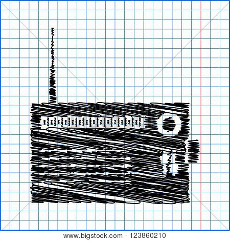 Radio silhouette. vector icon with pen effect on paper.