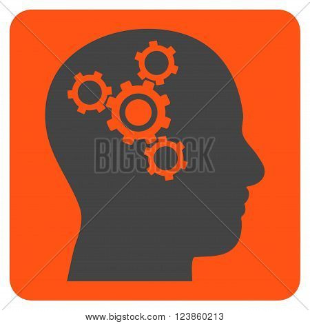 Brain Mechanics vector icon symbol. Image style is bicolor flat brain mechanics icon symbol drawn on a rounded square with orange and gray colors.