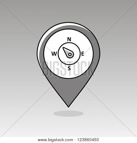 Compass wind rose outline pin map icon. Map pointer. Map markers. Direction northwest. Meteorology. Weather. Vector illustration eps 10