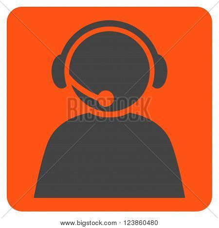 Call Center Operator vector icon symbol. Image style is bicolor flat call center operator iconic symbol drawn on a rounded square with orange and gray colors.
