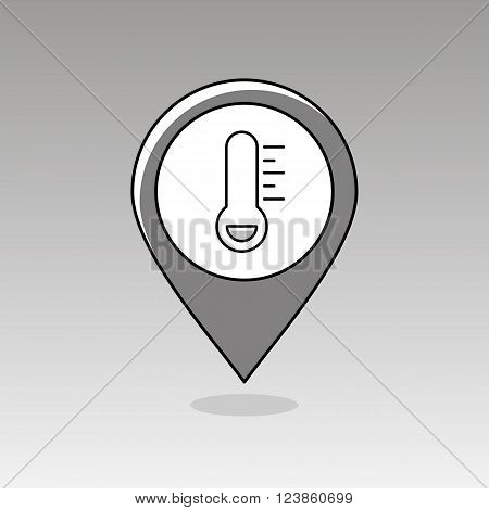 Thermometer Frost Cold outline pin map icon. Map pointer. Map markers. Meteorology. Weather. Vector illustration eps 10