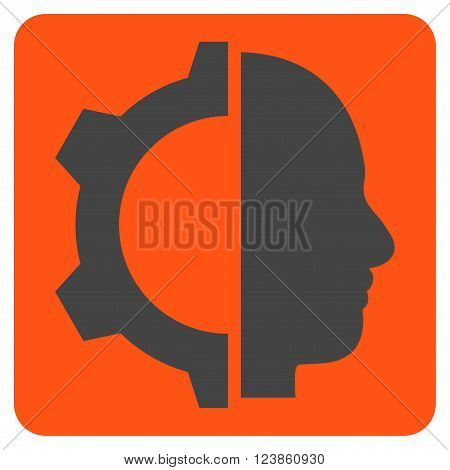 Cyborg Gear vector pictogram. Image style is bicolor flat cyborg gear iconic symbol drawn on a rounded square with orange and gray colors.