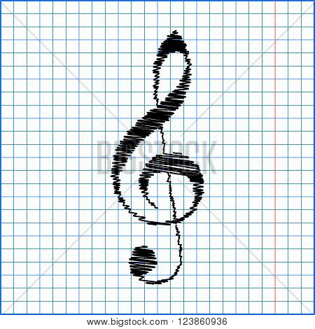 violin clef with pen effect on paper. Music VECTOR.