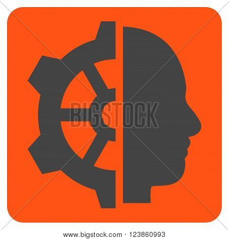 Cyborg Gear vector pictogram. Image style is bicolor flat cyborg gear icon symbol drawn on a rounded square with orange and gray colors.