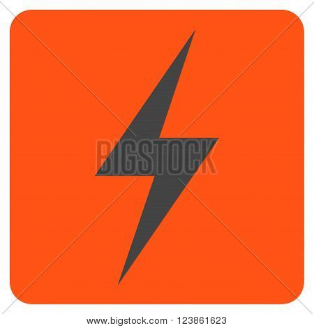 Electricity vector pictogram. Image style is bicolor flat electricity pictogram symbol drawn on a rounded square with orange and gray colors.
