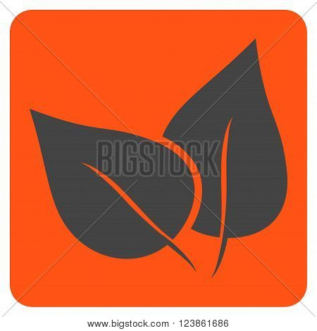 Flora Plant vector symbol. Image style is bicolor flat flora plant iconic symbol drawn on a rounded square with orange and gray colors.