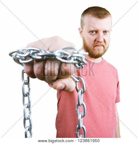 Bearded man with a chain around the knuckle