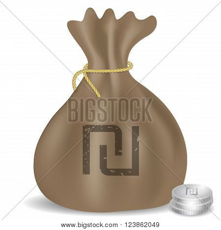 Money bag icon with Israeli Shekel symbol and coins.