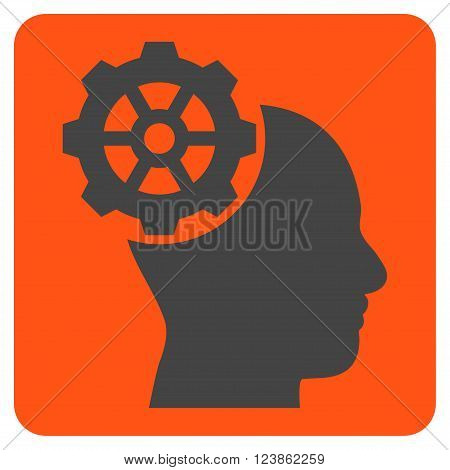Head Gear vector icon symbol. Image style is bicolor flat head gear pictogram symbol drawn on a rounded square with orange and gray colors.