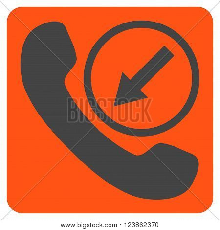 Incoming Call vector pictogram. Image style is bicolor flat incoming call iconic symbol drawn on a rounded square with orange and gray colors.